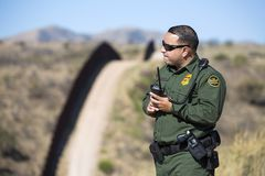 Arizona - tucson - a border patrol control the fence near Nogales. Arizona - tucson - one border patrol control the fence near Nogales royalty free stock photography