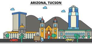 Arizona, Tucson tła miasta projekta linia horyzontu wektor twój Obrazy Stock