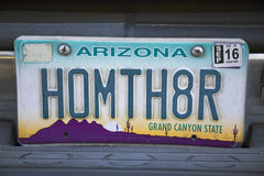 Arizona, Tucson, USA, vanity license plate says Home Theater Stock Image