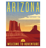 Arizona United States retro travel poster. Vector illustration of scenic desert landscape with grunge postmark on separate layer Stock Photography