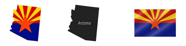 Free Arizona US State Detailed Flag Map. Detailed Silhouette. Waving Flag. Vector Illustration Royalty Free Stock Image - 216457736