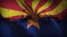 Arizona US State grunge dirty flag waving on wind. United States of America Arizona background fullscreen grease flag blowing on wind. Realistic filth fabric Royalty Free Stock Photos
