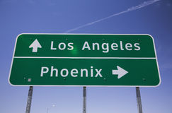 Arizona, USA, Los Angeles - Phoenix Interstate highway road sign Stock Images