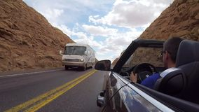 ARIZONA, USA - MAY 13, 2019: Man driving convertible car stock video