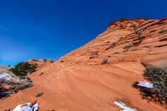 Arizona-Utah-Vermillion Cliffs National Monument, S Coyote Buttes-Pawhole. Snow on these beautiful rock formations add more dimension to the already spectacular stock images