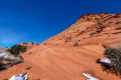 Arizona-Utah-Vermillion klippor nationell monument, s-prärievargbuttes-Pawhole Arkivbilder