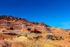 Arizona-Utah-Vermillion klippor nationell monument, s-prärievargbuttes-Pawhole Arkivbild