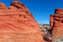 Arizona-Utah-Vermillion klippor nationell monument, s-prärievargbuttes-Pawhole Royaltyfri Bild