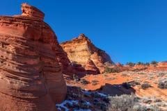 Arizona-Utah-Vermillion klippor nationell monument, s-prärievargbuttes-Pawhole Royaltyfri Foto