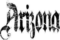 Arizona-Wort in der alten englischen Kalligraphie Stockfotografie