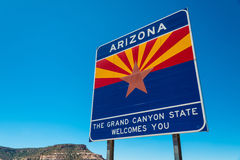 Arizone state border highway sign. With a sky blue background Stock Photography