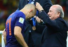 Arjen Robben and Sep Blatter  Coupe du monde 2014 Stock Photo