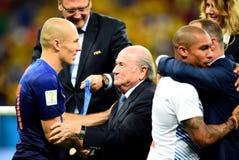 Arjen Robben and Sep Blatter  Coupe du monde 2014 Stock Images