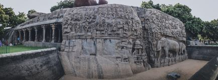 Arjuna`s Penance Mahabalipuram Rock Sculptures Of Mahabalipuram: A Love Song To The Past. Arjuna's Penance is one of the magnificent monuments of Mahabalipuram Royalty Free Stock Photography