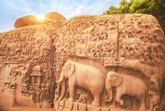 Arjuna grotta, Mahabalipuram, Tamilnadu Fotografering för Bildbyråer