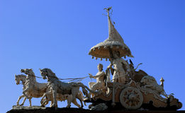 Arjuna and Krishna. Krishna and Arjuna in the chariot. Hindu monument in Rishikesh, India Royalty Free Stock Photography