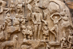Arjuna's Penance. Detail from the Arjuna's Penance (or Descent of the Ganges) bas-relief in Mahabalipuram, India Stock Photography