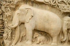 Arjuna's Penance at Mahabalipuram, Tamil Nadu,India,Asia Stock Photo