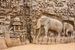 Arjuna's Penance Monolith. Segment of the Arjuna's Penance (or Descent of the Ganges) bas-relief in Mahabalipuram, India Stock Photo