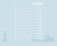 Ark av anteckningsboken. Skepp och fyr Arkivfoton
