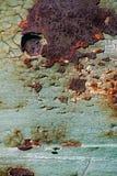 Ark av rostig metall med sprucken och flagig målarfärg, en metallsurfa Arkivfoto