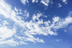 Ark blue sky with some white clouds. Dark blue sky with some white clouds in daylight Royalty Free Stock Photography