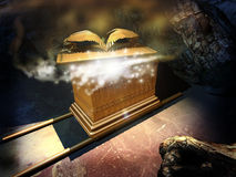 Ark of the covenant. An imaginary Ark of Alliance, or Ark of the covenant, hidden in a vault. The lid of the propitiatory is partially removed, revealing a