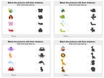Ark för skugga 4 för match djurt - arbetssedel för utbildning royaltyfri illustrationer
