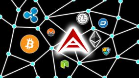 ARK Focused Cryptocurrency Blockchain Network Background. Cryptocurrency concept background show network of coins, various connectings through blockchain Stock Images