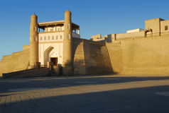 Ark Fortress in Bukhara at sunset Stock Photos