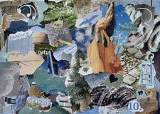 Ark för collage för atmosfärlynnebräde i färgblått, grå färger och brunt som göras av rivet tidskriftpapper med diagram, bokstäve Arkivbild