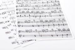Ark med musikaliska anmärkningar Royaltyfria Foton