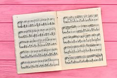 Ark med musikaliska anmärkningar, bästa sikt Arkivfoto