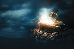 Free Ark Of The Covenant At The Top Of A Mountain / 3D Rendering Royalty Free Stock Photo - 134534365