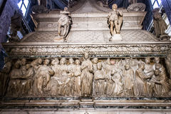 The Ark of Saint Dominic. A Renaissance sarcophagus containing his remains made by Nicola Pisano, Niccolo dell`Arca and Michelangelo. Basilica di San Domenico Royalty Free Stock Photo