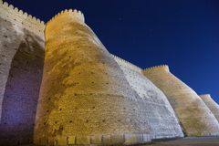 Ark survival evolved fortress. Historical Ark fortess in Bukhara city, Uzbekistan. Wall of the Bukhara Fortress, the Ark royalty free stock images