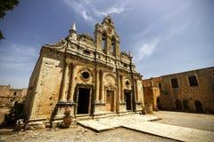 Arkadi历史的修道院,在罗希姆诺,克利特,希腊 库存照片