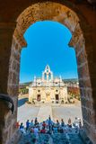 Passageway in the West Gate at the Arkadi Monastery, Arkadi, Crete, Greece. Arkadi, Crete, June 10, 2017: Passageway in the West Gate at the Arkadi Monastery Stock Photo