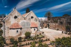 Arkadi kloster på Kretaön, Grekland Royaltyfri Fotografi