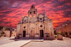 Arkadi kloster på Kretaön, Grekland Royaltyfria Bilder