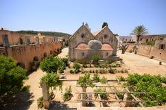 Arkadi monaster i kraju jard, Crete obraz stock