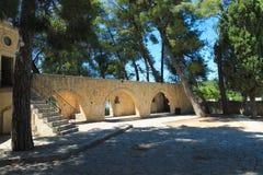 Arkadi Monastery. Wall arches at the entrance of the Arkadi monastery on Crete Stock Photo