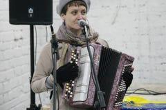 Arkady Kots, de garageoverleg 12.04.2014 van Kiev stock foto