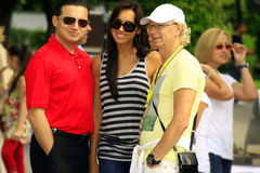 Arkady Ukupnik, Alsou, and her husband. The photograph was taken at the international competition of young singers New Wave 2009 Dzintari Concert Hall, Jurmala Royalty Free Stock Photos