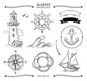 Arkan ramy, łodzie, żołnierz piechoty morskiej kępki, kotwicy doodle nautyczny wektorowy set ilustracja wektor