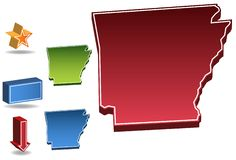Arkansas 3D. Set of 3D images of the State of Arkansas with icons Royalty Free Stock Images