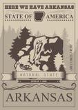 Arkansas amerikanskt loppbaner Naturligt tillstånd Tappningöversiktsaffisch royaltyfri illustrationer