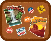 Arkansas, Arizona travel stickers with scenic attractions. And retro text on vintage suitcase background Royalty Free Stock Photo