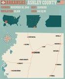 Arkansas: Ashley okręgu administracyjnego mapa royalty ilustracja