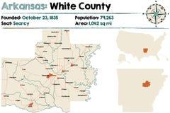 Arkansas: Biała okręg administracyjny mapa Obraz Royalty Free